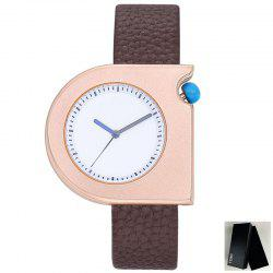 Minimalist Faux Leather Strap Semicircle Watch