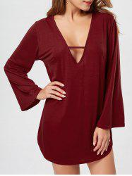 Plunge Long Sleeve T-shirt Dress
