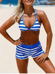 Halter Cross Back Striped Bikini Set