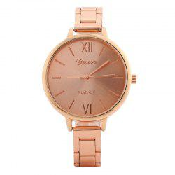 Alloy Strap Roman Numerals Quartz Watch - ROSE GOLD