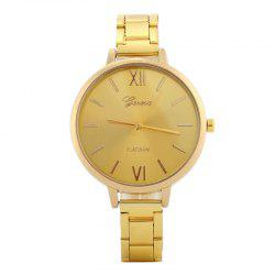 Alloy Strap Roman Numerals Quartz Watch - Or