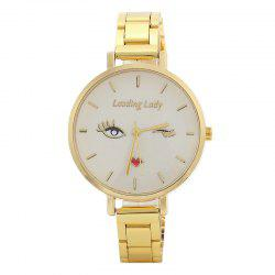Pretty Lady Face Alloy Strap Watch