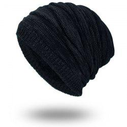Piled Velvet Lining Knitting Beanie - BLACK