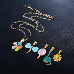 Love Flower Dragonfly Lollipop Pendant Necklace Set