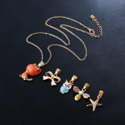 Fox Bows Owl Starfish Pendant Necklace Set
