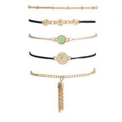 Faux Gemstone Fringed Chain Bracelet Set