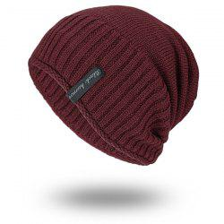 Pinstripe Knitting Velvet Lining Warm Beanie - WINE RED