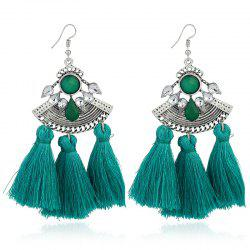 Faux Gemstone Teardrop Tassel Hook Earrings