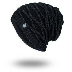 Wave Striped Velvet Lining Knitted Warm Beanie - FULL BLACK