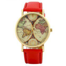 World Map Face Faux Leather Strap Quartz Watch