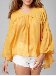 See Through Bell Sleeve Chiffon Blouse