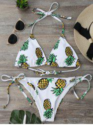 Pineapple Print String Bikini Set