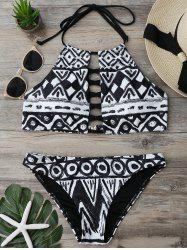 Halter Criss Cross Cropped Bikini Set