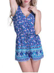Floral Cover Up Romper - BLUE XL