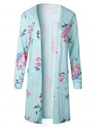 Open Front Pocket Long Floral Cardigan