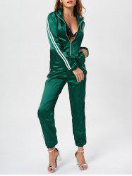 Stripe Zip Up Jacket and Satin Pants Set - GREEN