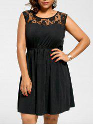 Sleeveless Plus Size Lace Yoke Skater Dress - BLACK