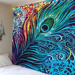 Peacock Feather Printed Wall Hanging Tapestry - COLORFUL