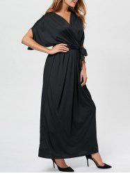 V Neck Surplice Party Robe longue - Noir S