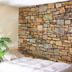 Wall Hanging Natural Stone Brick Fabric Tapestry - BROWN