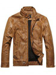 Stand Collar Veste en cuir PU Zip-Up Jacket - Clémentine 3XL