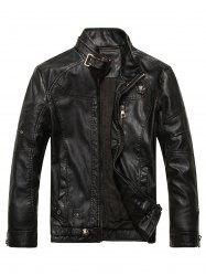 Stand Collar PU Leather Fleece Zip Up Jacket