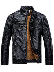 Zip Up Pockets Epaulet Fleece PU Leather Jacket -