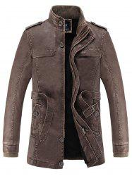 Rib Panel Stand Collar Faux Leather Longline Fleece Coat -