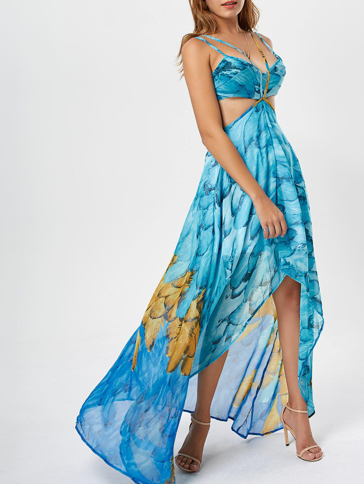 Unique Cutout Printed Chiffon High Low Flowy Dress