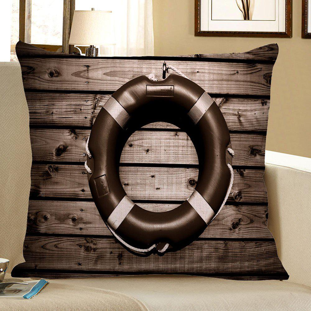 Vintage Wood Grain Steering Wheel Linen Pillow CaseHOME<br><br>Size: 45*45CM; Color: DEEP GRAY; Material: Polyester / Cotton; Fabric Type: Linen; Pattern: Printed; Style: Retro; Shape: Square; Weight: 0.0700kg; Package Contents: 1 x Pillow Case;