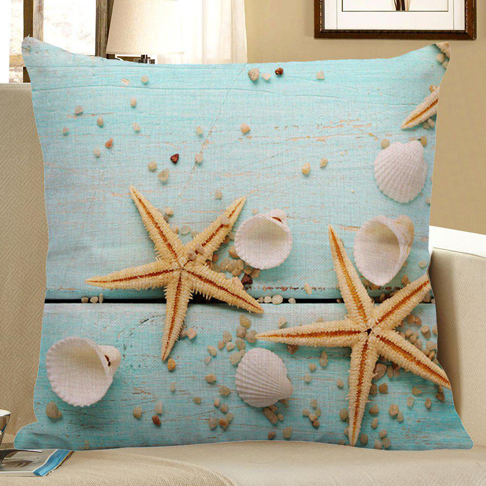 Starfish Sea Shell Print Decorative Linen Pillow CaseHOME<br><br>Size: 45*45CM; Color: LIGHT BLUE; Material: Polyester / Cotton; Fabric Type: Linen; Pattern: Printed; Style: Modern/Contemporary; Shape: Square; Weight: 0.0700kg; Package Contents: 1 x Pillow Case;