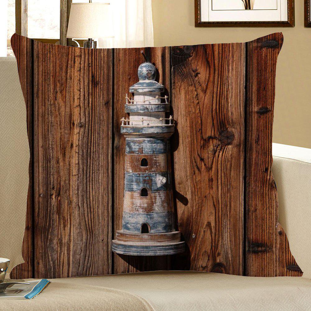 Lighthouse Wood Grain Decorative Linen Pillow CaseHOME<br><br>Size: 45*45CM; Color: BROWN; Material: Polyester / Cotton; Fabric Type: Linen; Pattern: Printed; Style: Retro; Shape: Square; Weight: 0.0700kg; Package Contents: 1 x Pillow Case;