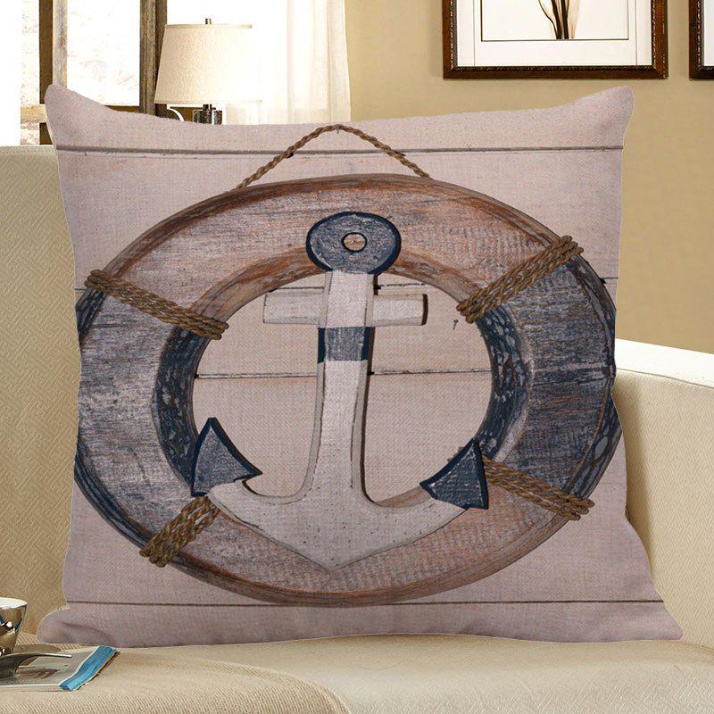 Wood Grain Steering Wheel Anchor Pillow CaseHOME<br><br>Size: 45*45CM; Color: LIGHT BLUE; Material: Polyester / Cotton; Fabric Type: Linen; Pattern: Anchor; Style: Retro; Shape: Square; Weight: 0.0700kg; Package Contents: 1 x Pillow Case;
