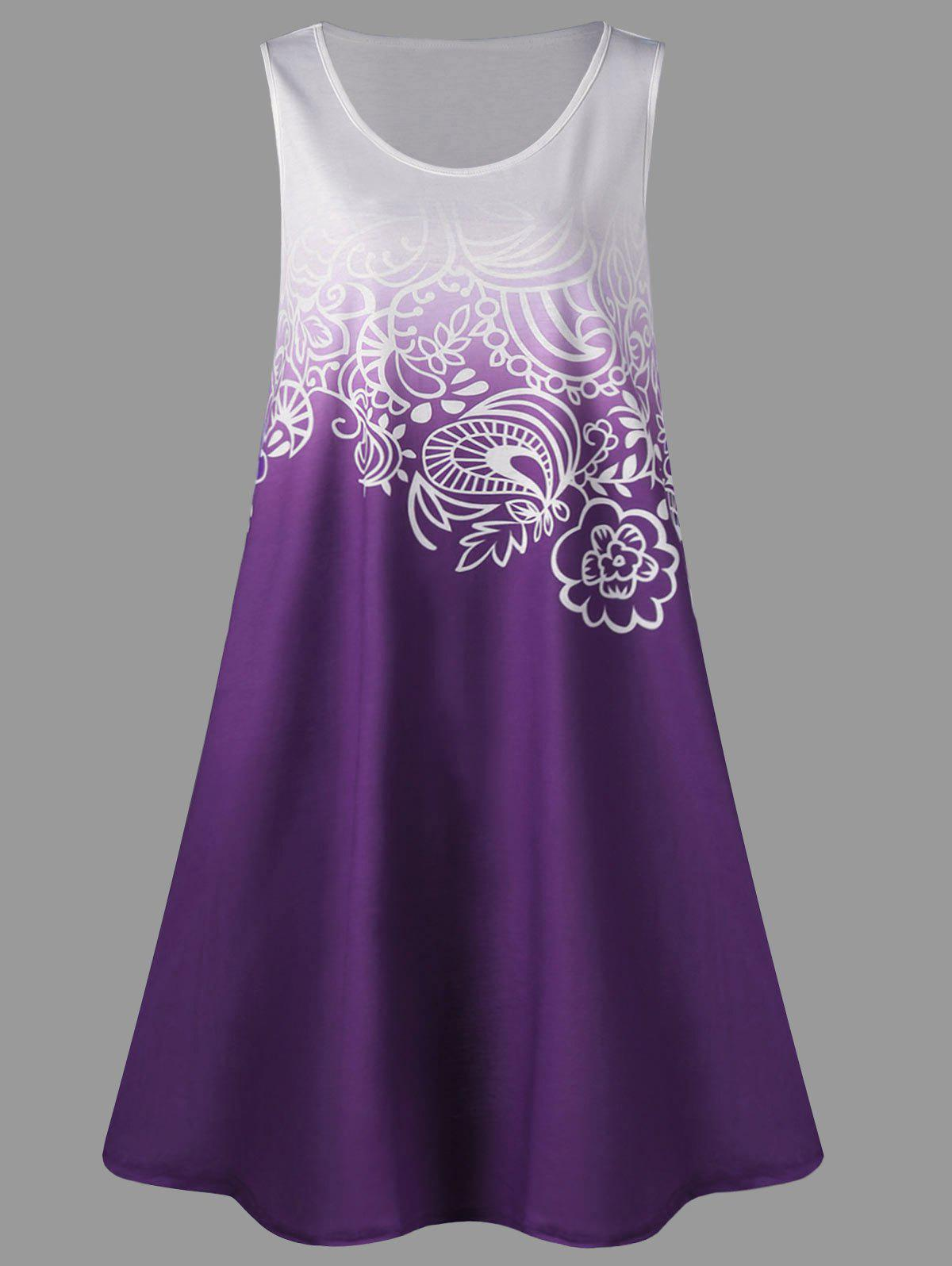 A Line Tunic Plus Size Gradient Color Tank DressWOMEN<br><br>Size: 5XL; Color: PURPLE; Style: Casual; Material: Polyester,Spandex; Silhouette: A-Line; Dresses Length: Knee-Length; Neckline: Scoop Neck; Sleeve Length: Sleeveless; Pattern Type: Others; With Belt: No; Season: Summer; Weight: 0.3000kg; Package Contents: 1 x Dress;