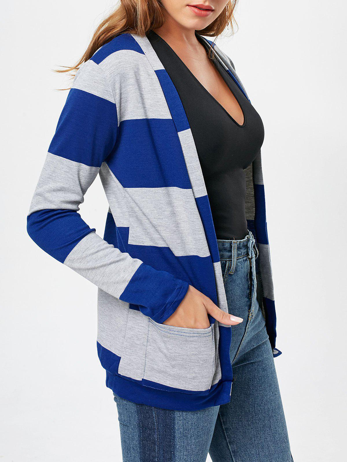 Trendy Stylish Broad Striped Long Sleeve Cardigan For Women