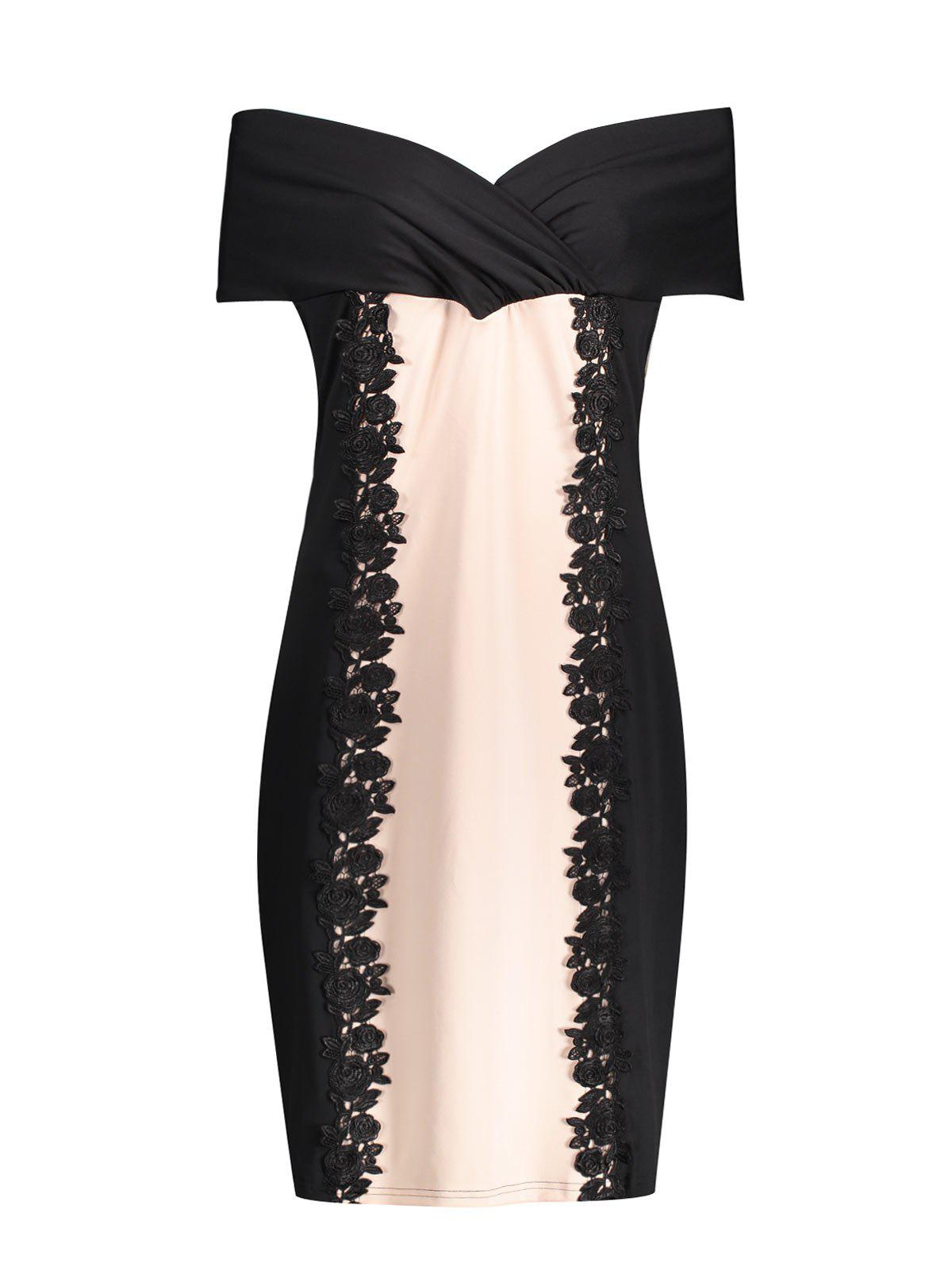 Plus Size Off The Shoulder Sheath Formal DressWOMEN<br><br>Size: 4XL; Color: BLACK; Style: Club; Material: Cotton Blend,Polyester; Silhouette: Sheath; Dresses Length: Knee-Length; Neckline: Off The Shoulder; Sleeve Length: Short Sleeves; Embellishment: Appliques,Lace; Pattern Type: Others; With Belt: No; Season: Spring,Summer; Weight: 0.3300kg; Package Contents: 1 x Dress;