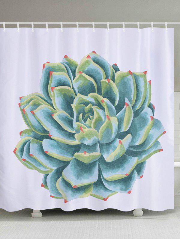 Outfit Succulents Pattern Fabric Waterproof Bathroom Shower Curtain