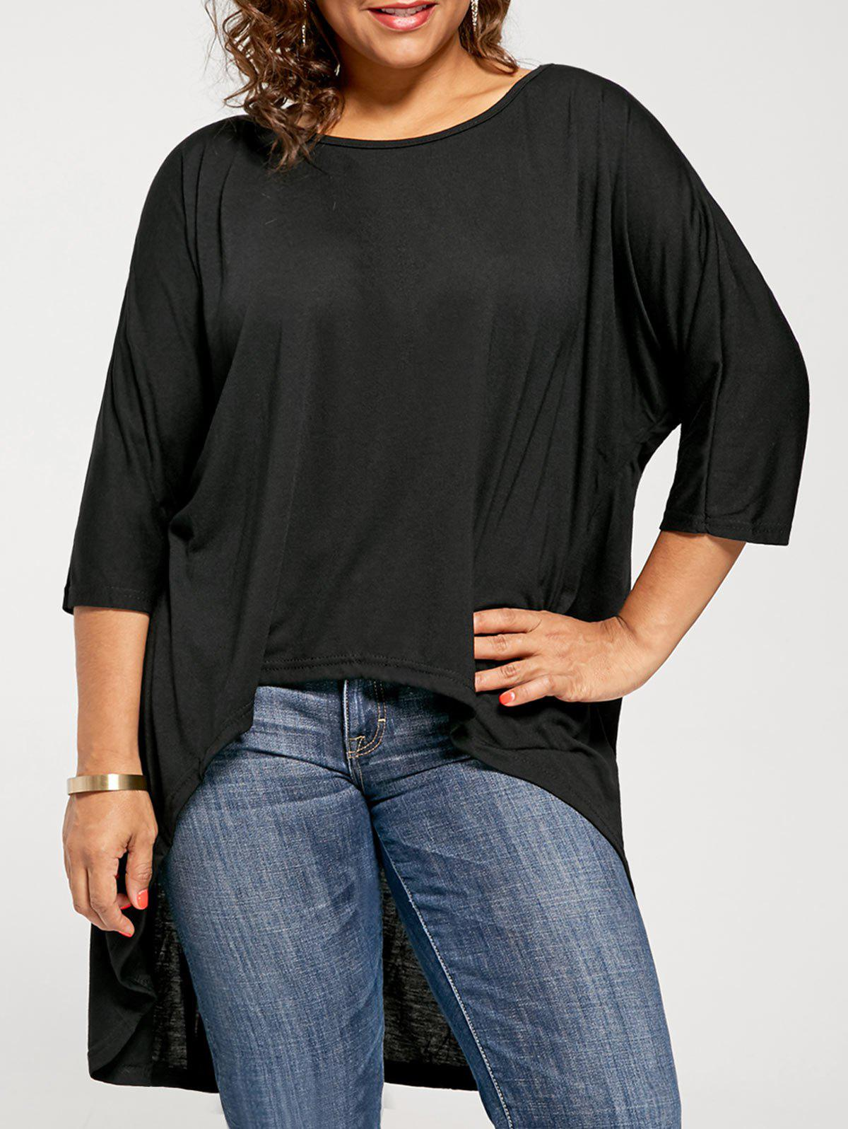 High Low Plus Size Tunic T-shirtWOMEN<br><br>Size: 2XL; Color: BLACK; Material: Polyester; Shirt Length: Long; Sleeve Length: Three Quarter; Collar: Scoop Neck; Style: Casual; Pattern Type: Solid; Weight: 0.3200kg; Package Contents: 1 x T-shirt;