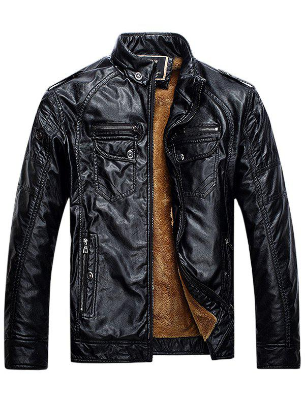 Affordable Zip Up Pockets Epaulet Fleece PU Leather Jacket