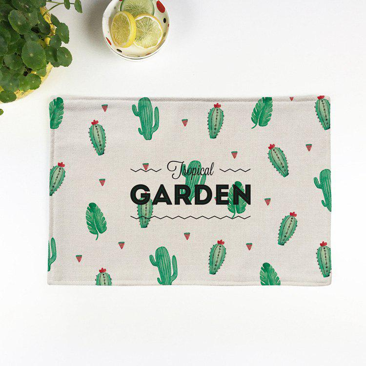 Heat Insulation Table Cactus Printed PlacematHOME<br><br>Size: PATTERN D; Color: BEIGE; Type: Placemats; Material: Linen; Pattern Type: Print; Size(CM): 28*44CM; Weight: 0.0450kg; Package Contents: 1 x Placemat;