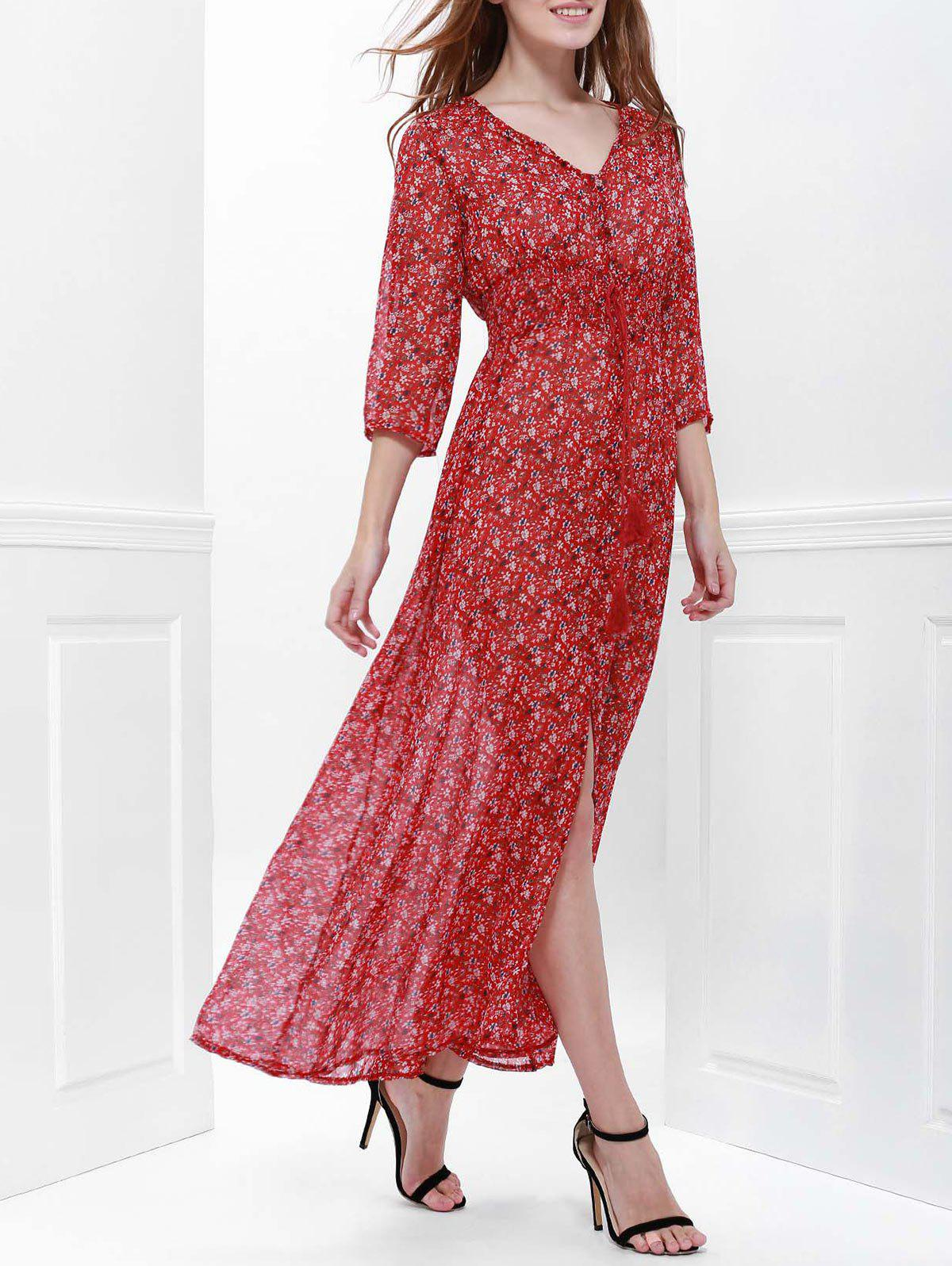 New High Split Printed Maxi Dress with Sleeves