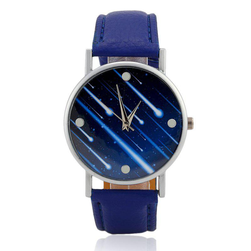 Image of Meteor Shower Face Faux Leather Strap Watch