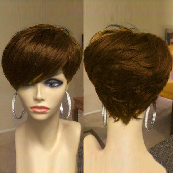 Short Oblique Bang Shaggy Layered Straight Synthetic WigHAIR<br><br>Color: BROWN; Type: Full Wigs; Cap Construction: Capless; Style: Straight; Material: Synthetic Hair; Bang Type: Side; Length: Short; Length Size(CM): 26; Weight: 0.1100kg; Package Contents: 1 x Wig;