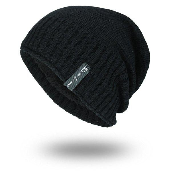 Pinstripe Knitting Velvet Lining Warm BeanieACCESSORIES<br><br>Color: BLACK; Hat Type: Skullies Beanie; Group: Adult; Gender: For Men; Style: Fashion; Pattern Type: Striped; Material: Acrylic; Weight: 0.1000kg; Package Contents: 1 x Hat;