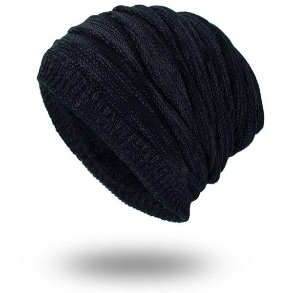 Piled Velvet Lining Knitting BeanieACCESSORIES<br><br>Color: BLACK; Hat Type: Skullies Beanie; Group: Adult; Gender: For Men; Style: Fashion; Pattern Type: Solid; Material: Acrylic; Weight: 0.1000kg; Package Contents: 1 x Hat;