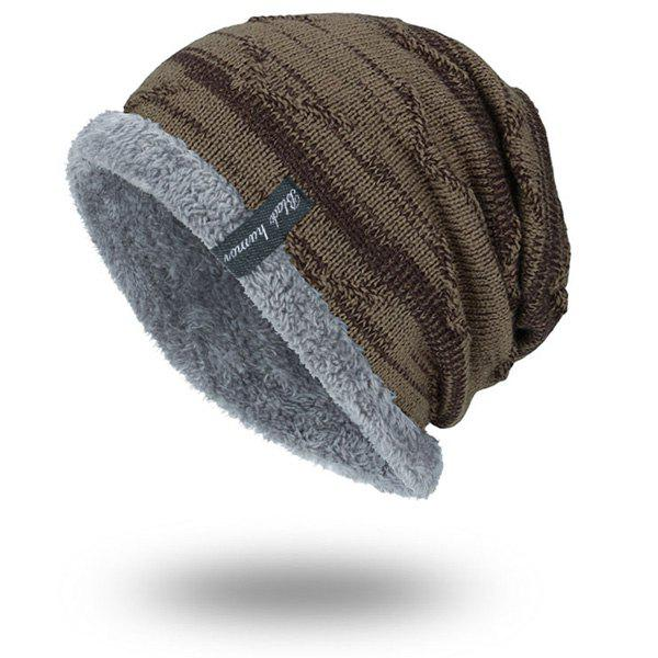 Velvet Lining Knitted BeanieACCESSORIES<br><br>Color: EARTHY; Hat Type: Skullies Beanie; Group: Adult; Gender: For Men; Style: Fashion; Pattern Type: Others; Material: Acrylic; Weight: 0.1000kg; Package Contents: 1 x Hat;