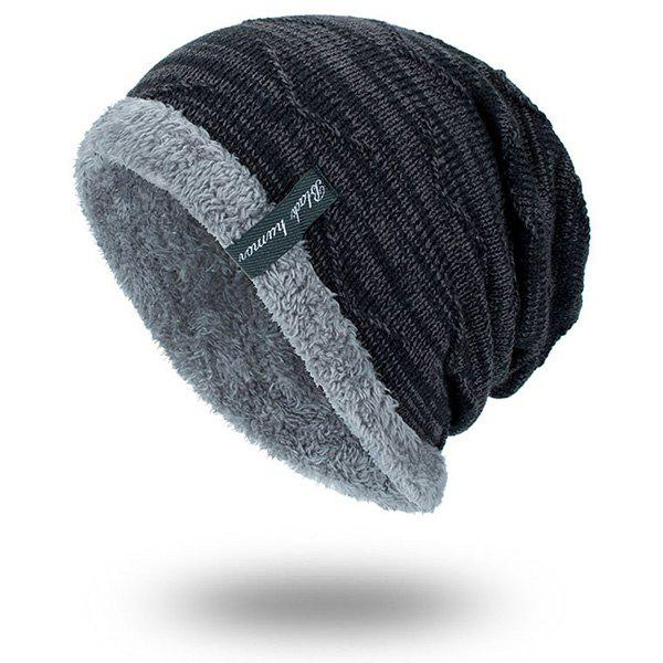 Velvet Lining Knitted BeanieACCESSORIES<br><br>Color: BLACK; Hat Type: Skullies Beanie; Group: Adult; Gender: For Men; Style: Fashion; Pattern Type: Others; Material: Acrylic; Weight: 0.1000kg; Package Contents: 1 x Hat;