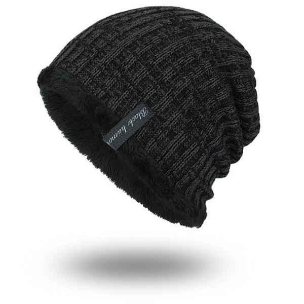 Knitted Velvet Lining Warm BeanieACCESSORIES<br><br>Color: BLACK GREY; Hat Type: Skullies Beanie; Group: Adult; Gender: For Men; Style: Fashion; Pattern Type: Striped; Material: Acrylic; Weight: 0.1000kg; Package Contents: 1 x Hat;