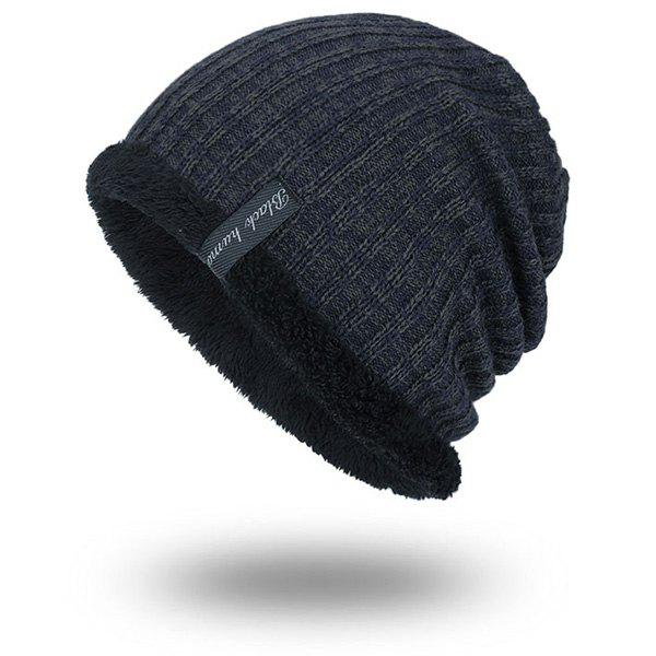 Knitted Velvet Lining Warm BeanieACCESSORIES<br><br>Color: STONE BLUE; Hat Type: Skullies Beanie; Group: Adult; Gender: For Men; Style: Fashion; Pattern Type: Striped; Material: Acrylic; Weight: 0.1000kg; Package Contents: 1 x Hat;