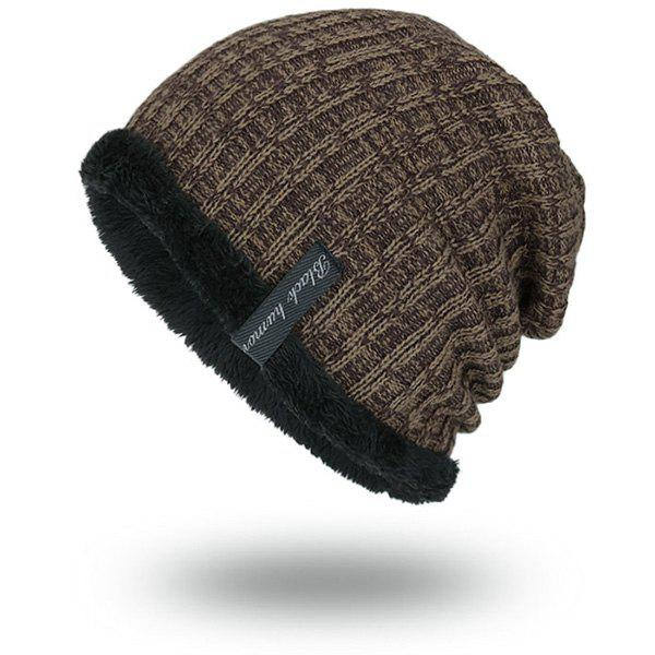 Knitted Velvet Lining Warm BeanieACCESSORIES<br><br>Color: EARTHY; Hat Type: Skullies Beanie; Group: Adult; Gender: For Men; Style: Fashion; Pattern Type: Striped; Material: Acrylic; Weight: 0.1000kg; Package Contents: 1 x Hat;